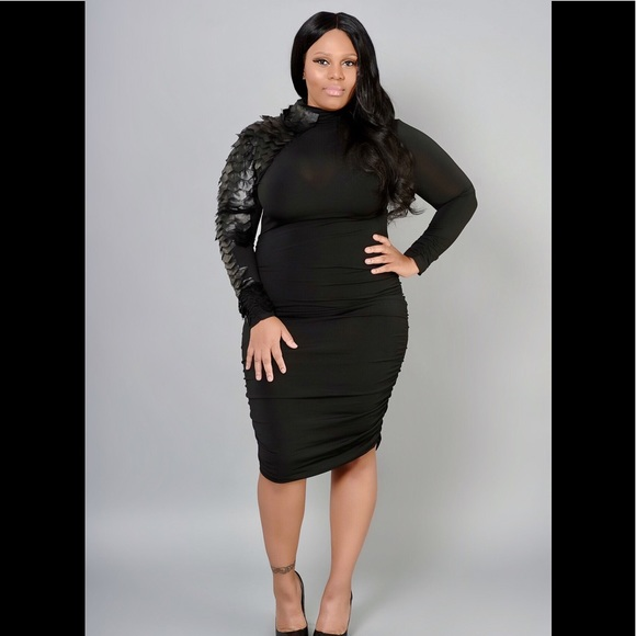 Women's plus size feather sleeved dress NWT